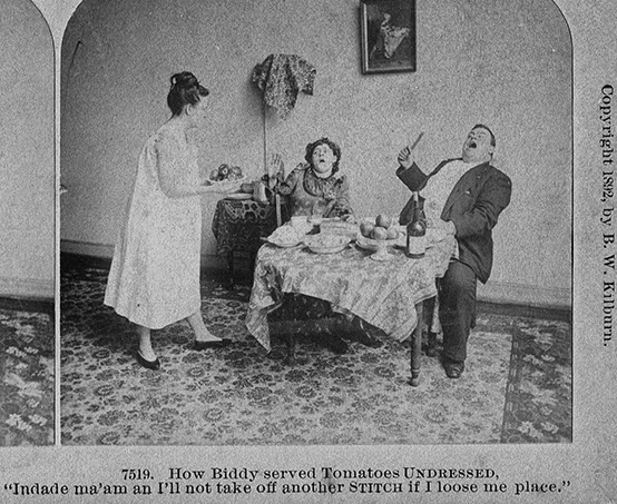 Image of servant in her chemise serving a shocked couple tomatoes