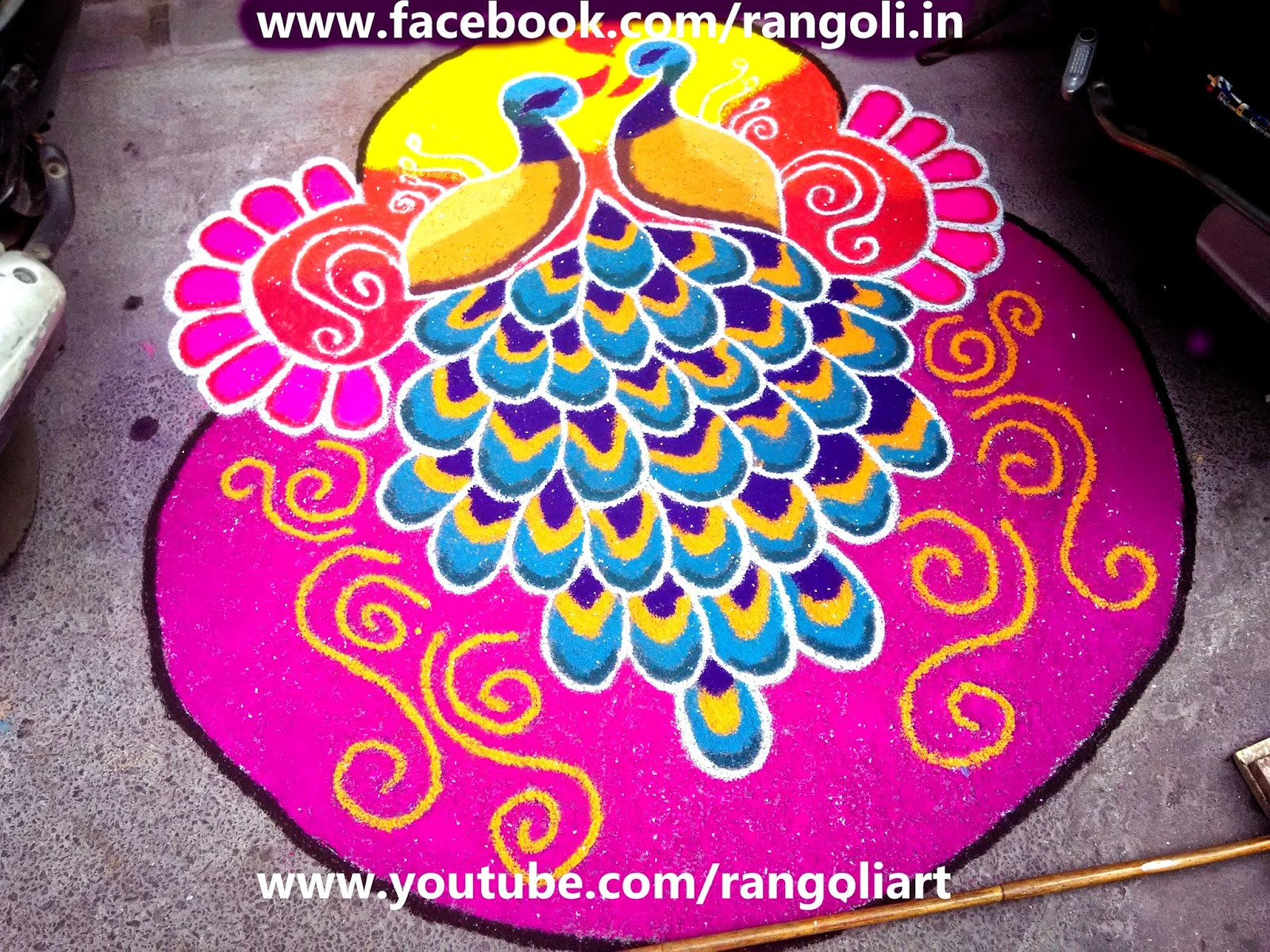 peacock rangoli designs with dots