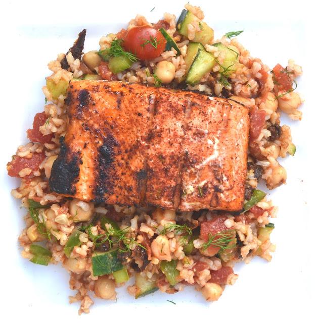 Grilled Salmon Chopped Greek Salad