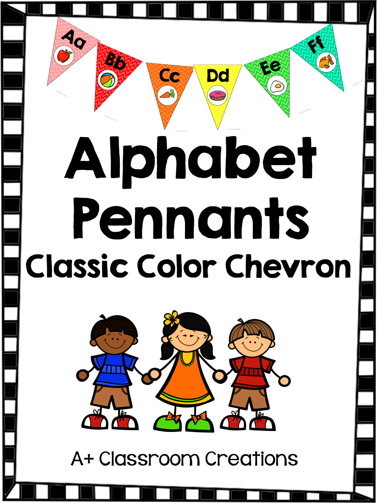 http://www.teacherspayteachers.com/Product/Alphabet-Pennants-Classic-Color-Chevron-1274579