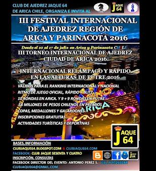 3º FESTIVAL INTERNACIONAL DE AJEDREZ REGIÓN ARICA Y PARINACOTA 2016