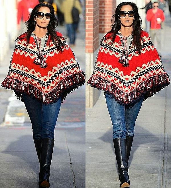 In another stunning design, the top chef, Padma Lakshmi showed off her culture sensibility of fashion in a casual jeans that combined with a wonderful Aztec poncho knitting at New York City on Monday morning.