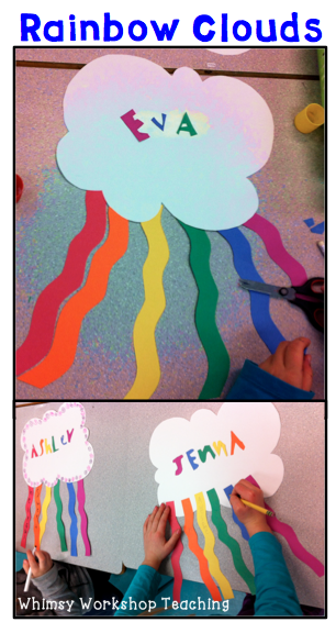 Cute and easy craft idea with rainbows and clouds