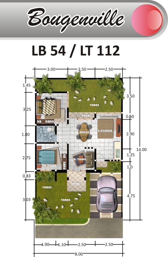 desain rumah type54