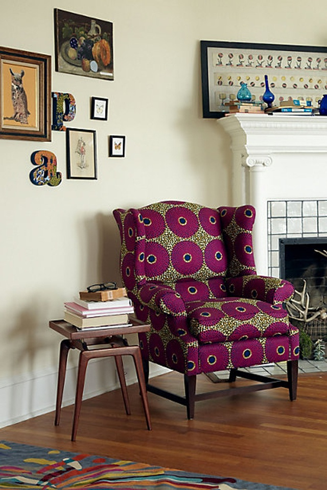 Funky chic african print furniture fashion for Funky fabric dining chairs