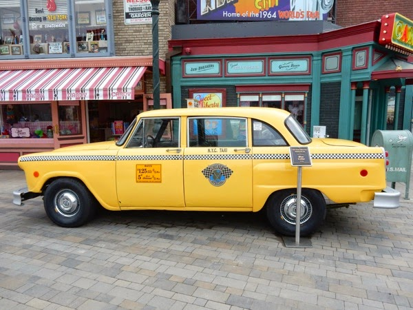 Blue Collar yellow NYC Checkers cab