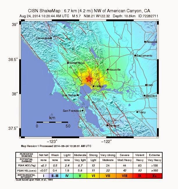 SISMO 6,0 GRADOS NORTE DE CALIFORNIA, 24 DE AGOSTO 2014