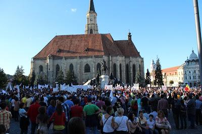 tüntetés a Mátyás téren, Kolozsvár