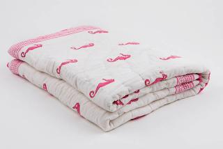 Moochic Baby | Nursery Bedding | Pink Seahorse Blanket
