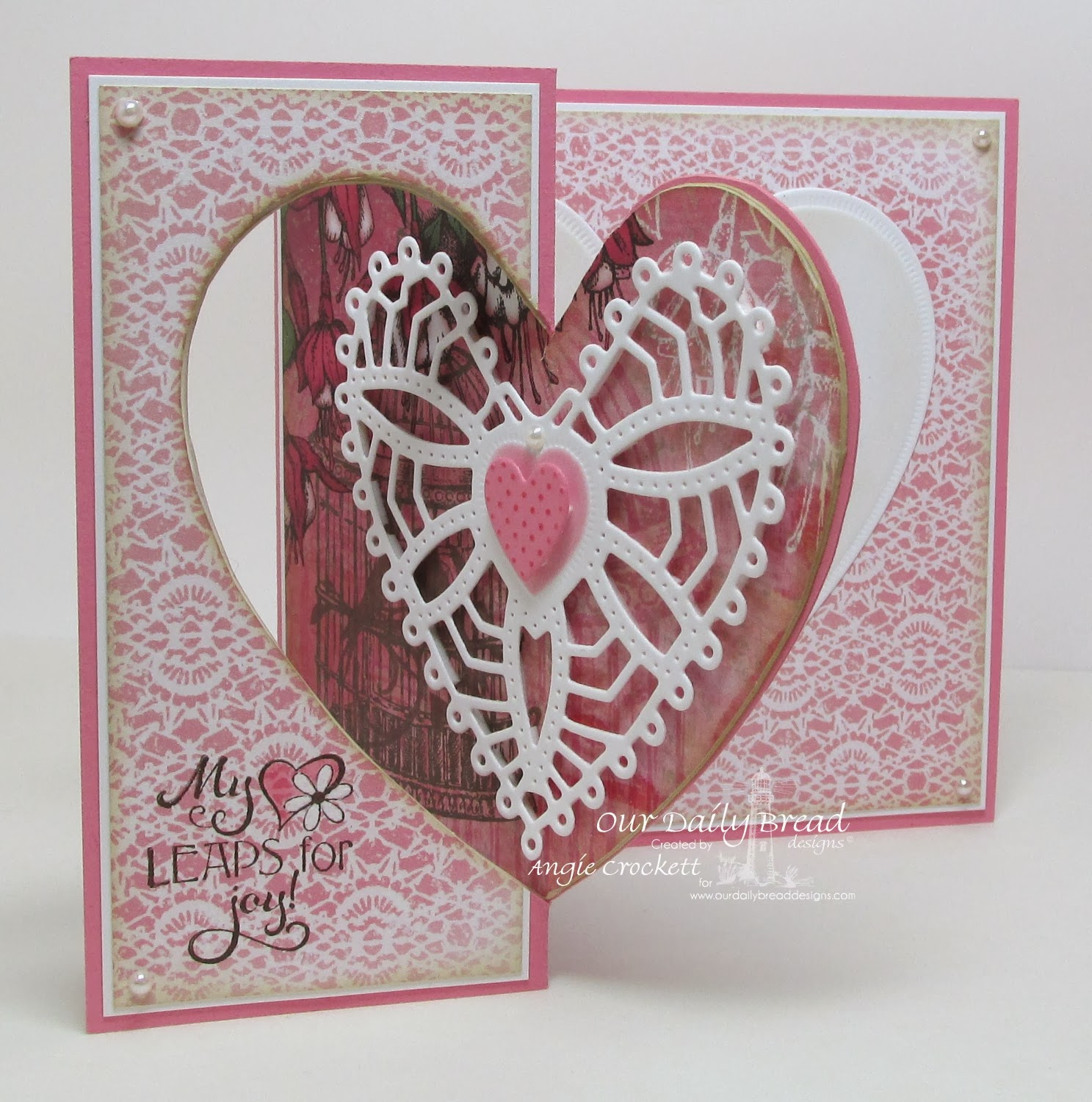ODBD Custom Ornate Hearts Die Set, Clean Heart, Love You Bunches, Heart and Soul Designer Paper Collection, Card Designer Angie Crockett