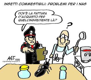 insetti, ristorazione, NAS, satira vignetta