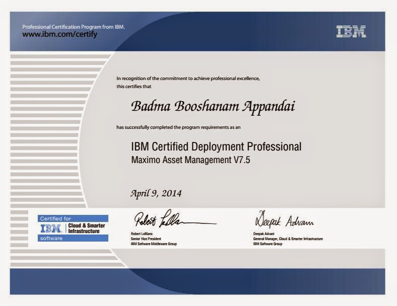 IBM Certified Deployment Professional - Maximo Asset Management V7.5