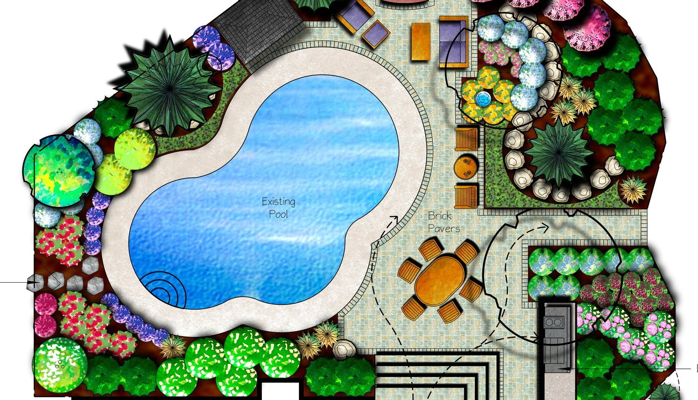 Art design landscape landscape plan drawing inspiration for Pool design drawings