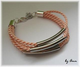 bransoletka sznurek skręcany blady róż pastelowa rurki