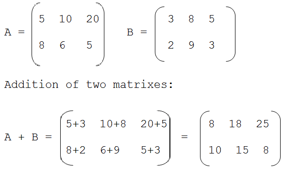 Write a c program to add two matrices using functions