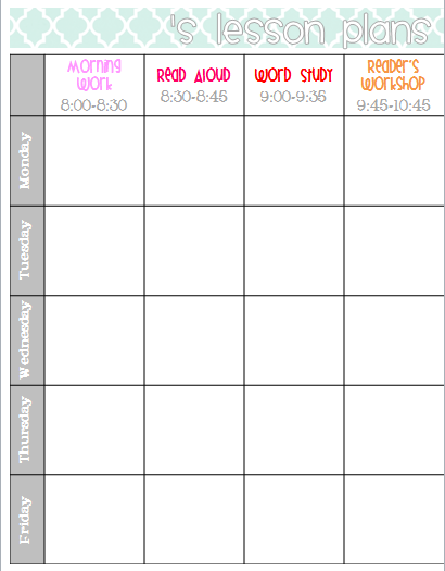 Lesson Plan Book Template – Printable Editable Blank