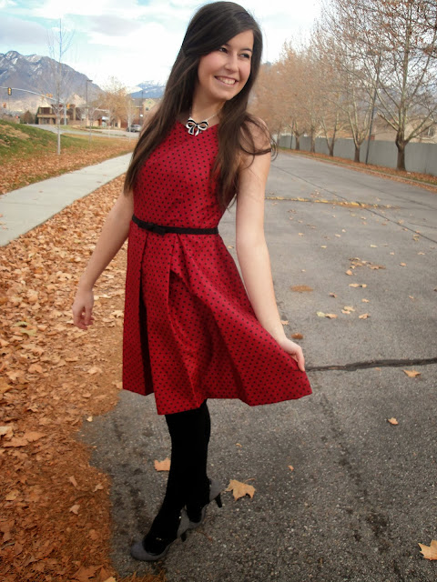 polka dot dress, fit and flare, polka dot, long hair, fancy outfit, t strap heels, pretty dresses, jcpenny, jcp, payless, payless shoes, bow necklace, deb shops,