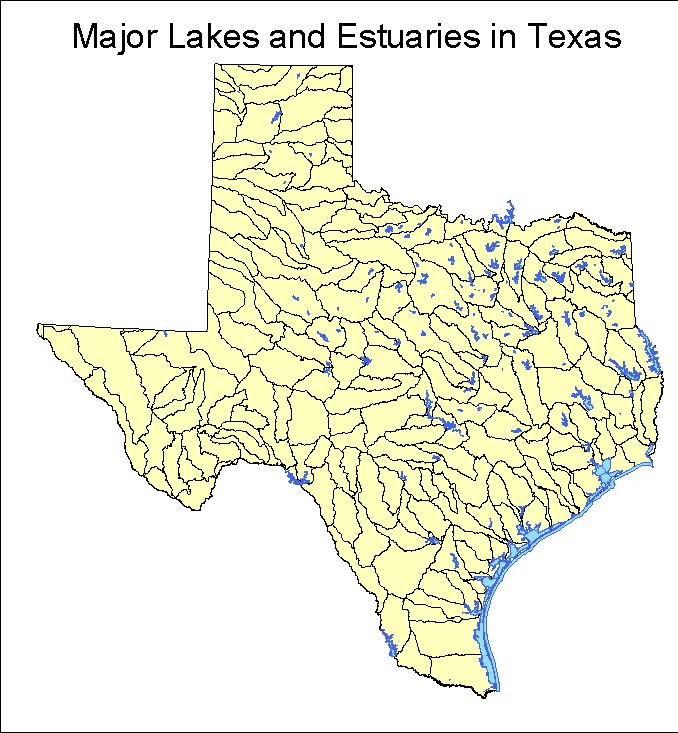 Texas map with lakes river basins reservoirs texas water for Fishing lakes in texas