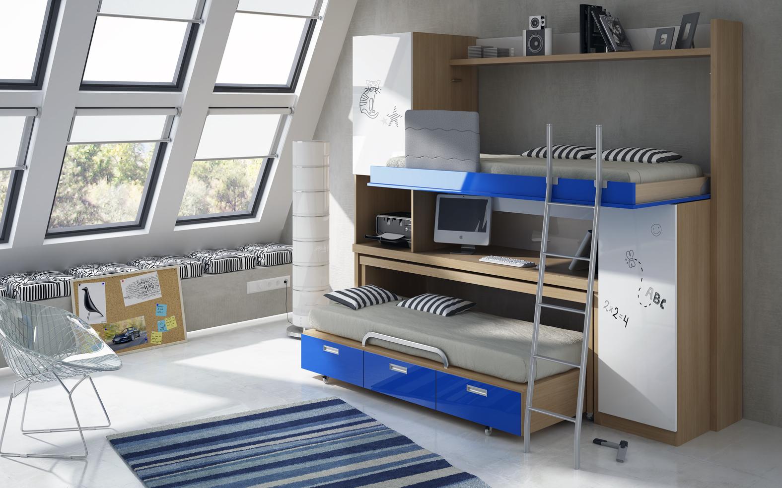 Muebles juveniles dormitorios infantiles y habitaciones for Cama nido de tres camas