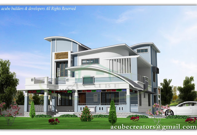 new contemporary style villa   2945 sq ft plan 154 acube builders