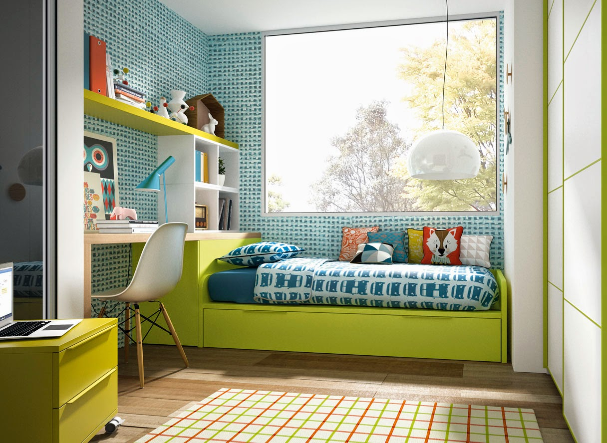 Dormitorio con cama nido blanco y pistacho