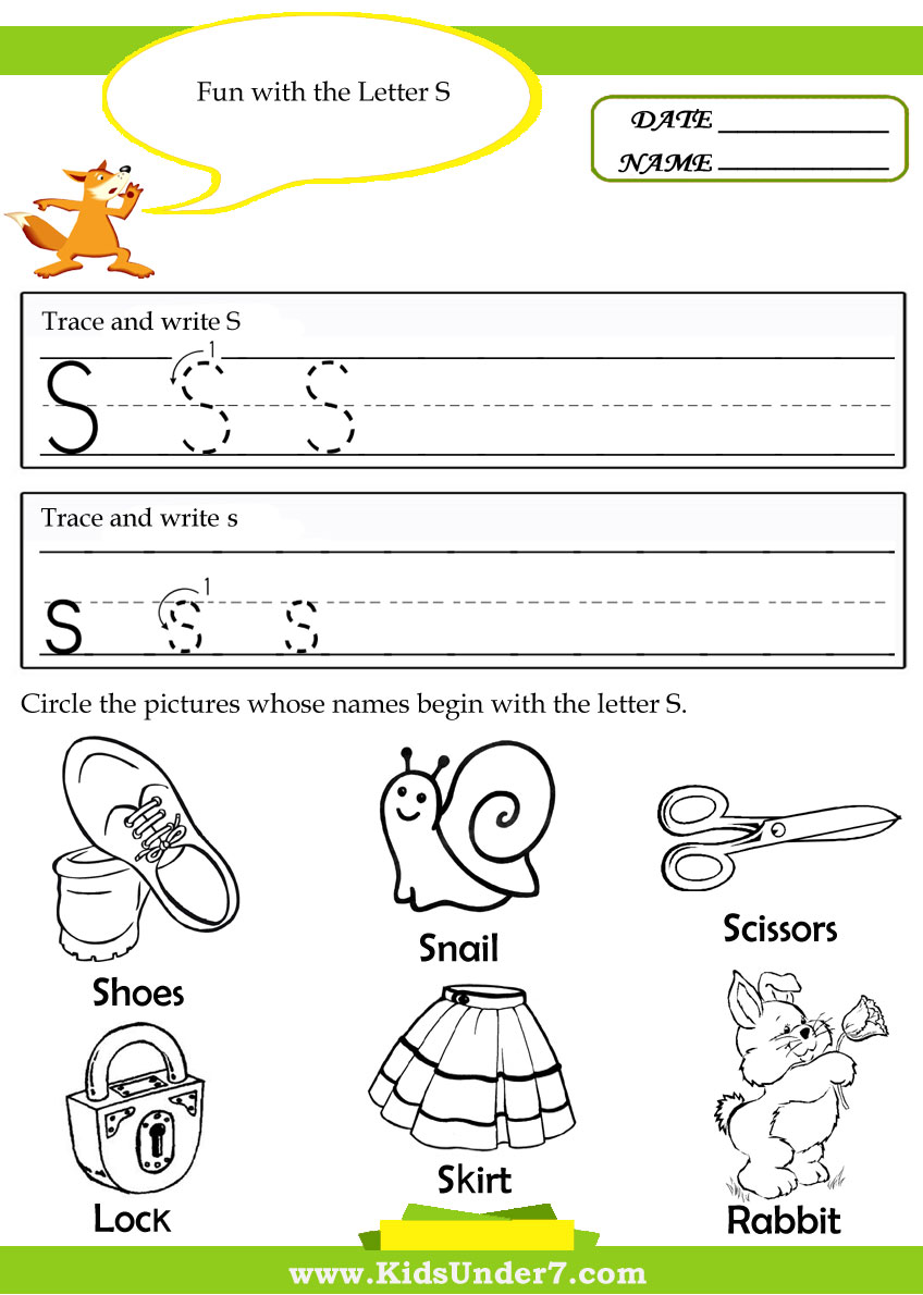 Free Letter S Alphabet Learning Worksheet for Preschool