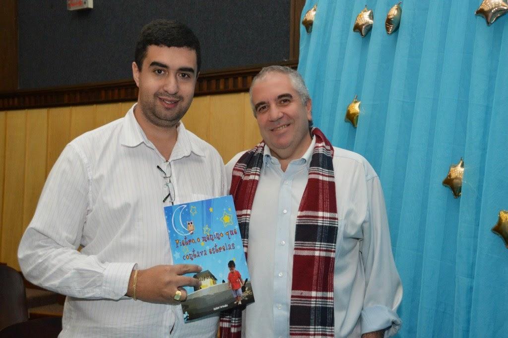 Hudson Fernandes e o secretário de Educação e de Governo, Leonardo Vasconcellos, um dos principais incentivadores do projeto