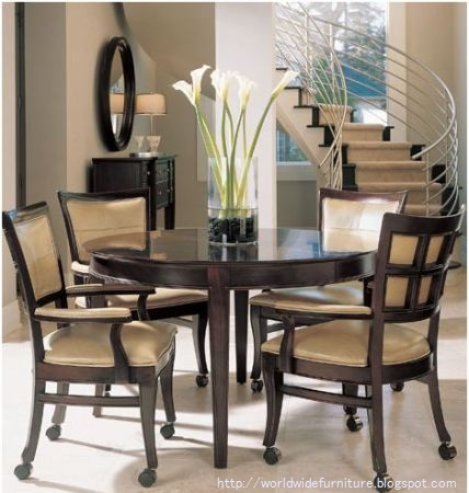 All about home decoration furniture round dining room for Round dining room table centerpieces