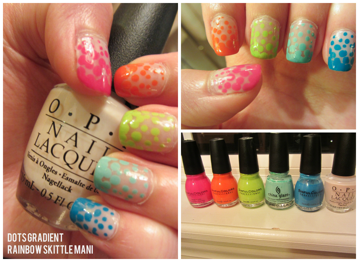 Nails prevail dots gradient rainbow skittle mani the end result is a gradient made from dots quite adorable if i say so myself this might be hard to do on yourself but maybe ill try it someday solutioingenieria Gallery