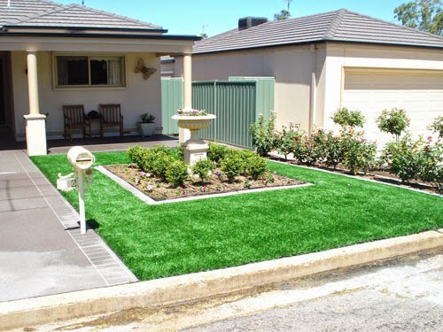 Front yard landscaping with grass and dwarf plants outdoor landscaping ideas Diy home design ideas pictures landscaping