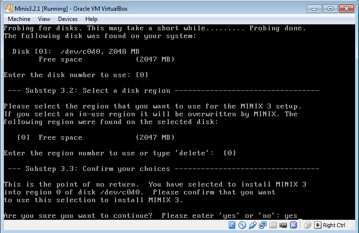 MINIX 3 setup disk options