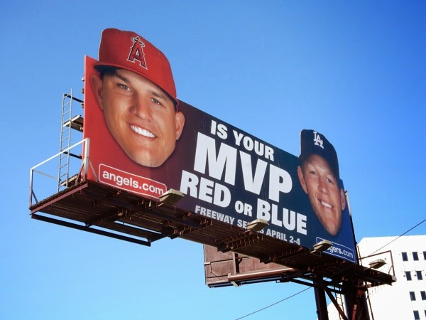MVP red or blue Angels Dodgers baseball billboard