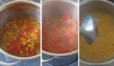 Zubereitung Paprika-Mais-Suppe