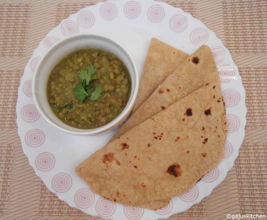 Green Gram gravy served with chapathi