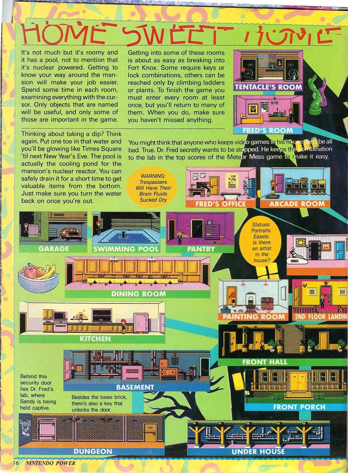 Maniac Mansion Nintendo Nes Map