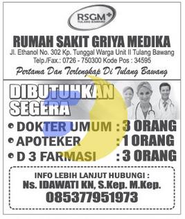 Lowongan Kerja RUMAH SAKIT di Lampung, Juni 2015