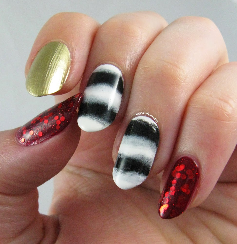 Black and White Stripes with Red Glitter and Gold Accents