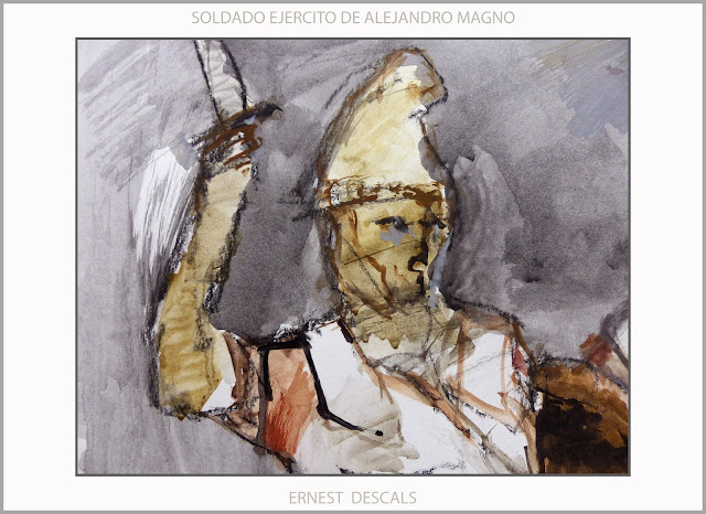 SOLDADOS-ALEJANDRO MAGNO-PINTURA-ARTE-EJERCITO-MACEDONIA-ARTISTA-PINTOR-ERNEST DESCALS-