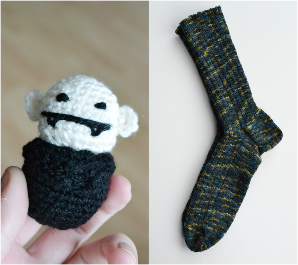 crochet monster vampire nosferatu knitted socks basic rib mens christmas gift
