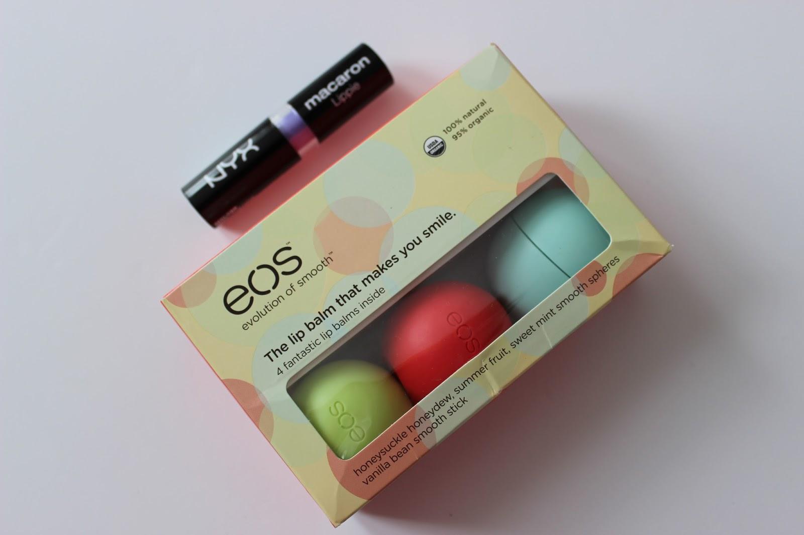 EOS lip balms and NYX macaron lipstick
