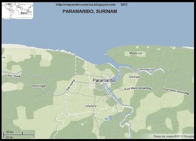Mapa de Paramaribo, capital de SURINAM