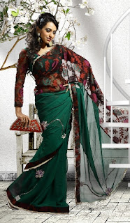 Green-Black-Georgette-Saree