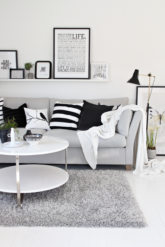Halcyon wings black white and grey living room for Grey black and white living room