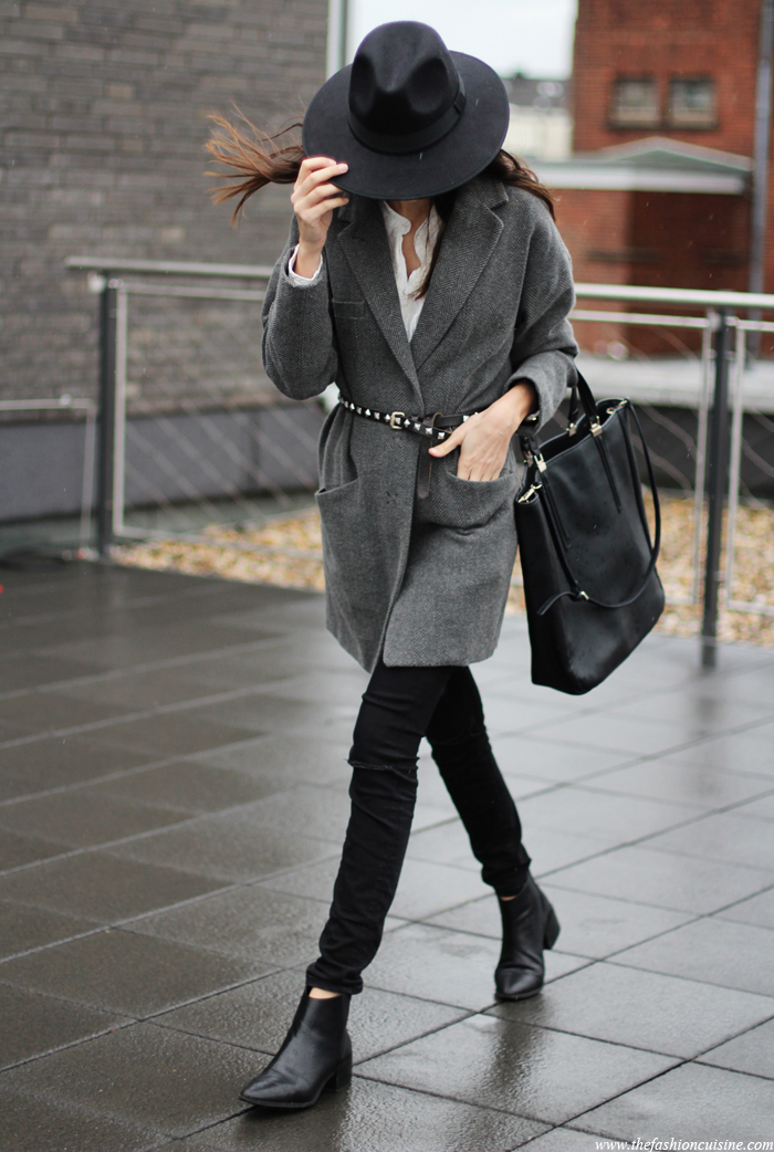 belted coat, pointed ankle boots, fedora hat, street style, oversized grey coat