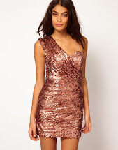 Rose Gold Sequin One Shoulder Dress