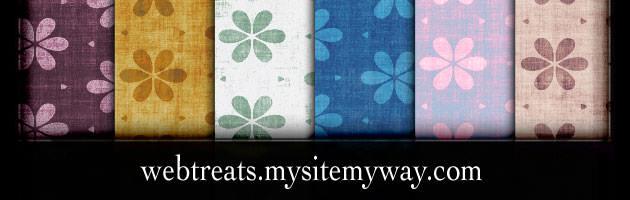 シンプルな花柄に汚れた感じの質感を付けたパターン素材 | 商用利用も可なフリーの花柄パターン素材