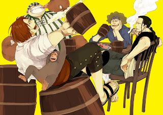 One Piece Red Haired Pirates Shanks Yasopp Benn Beckmann Lucky Roo Anime Dringking Eating Smoking Monkey Anime HD Wallpaper Desktop Background