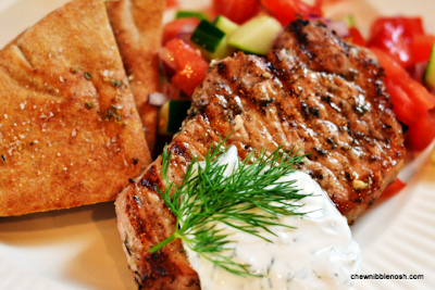 Grilled Pork Chops with Tomato-Cucumber Relish and Yogurt Dill Sauce