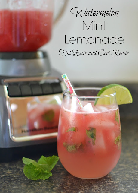 Fruity summertime drink! Perfect for picnics, BBQ's and play dates! So refreshing too! Watermelon Mint Lemonade Recipe from Hot Eats and Cool Reads!