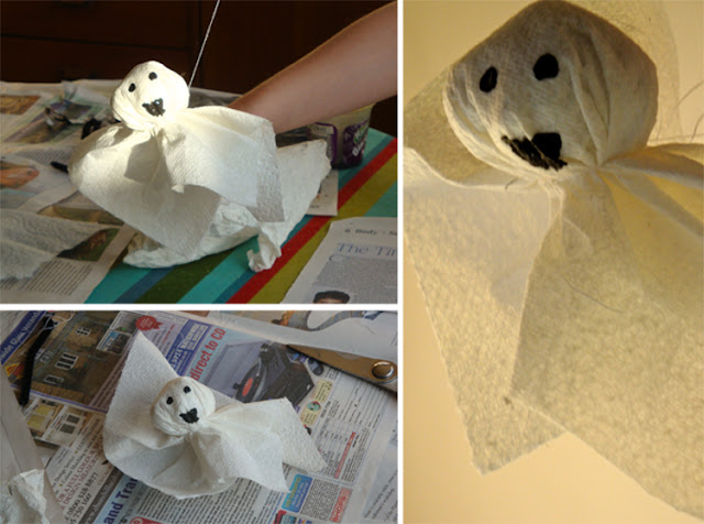 halloween crafts tissue ghosts